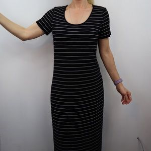 Calvin Klein Black Striped White Str. Long Dress 8